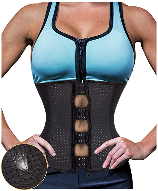 09b3b997756 Gotoly Women Latex Waist Trainer Zip Corset Steel Boned Sport Cincher  Weight Loss Body Shaper (