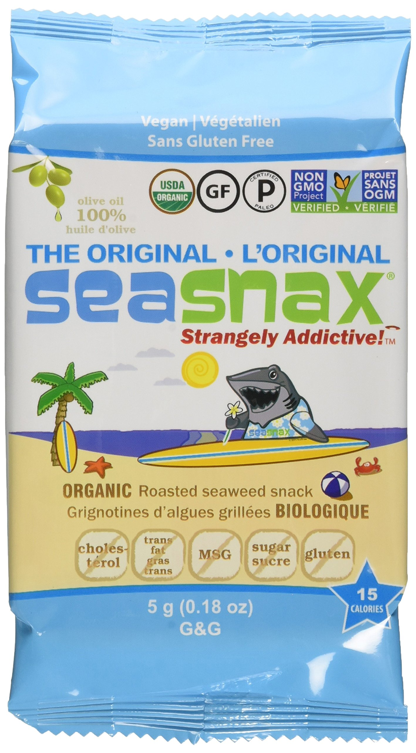 SeaSnax Organic Roasted Seaweed Snack Grab and Go, Original, 0.18 Ounce (Pack of 24) by SeaSnax (Image #1)