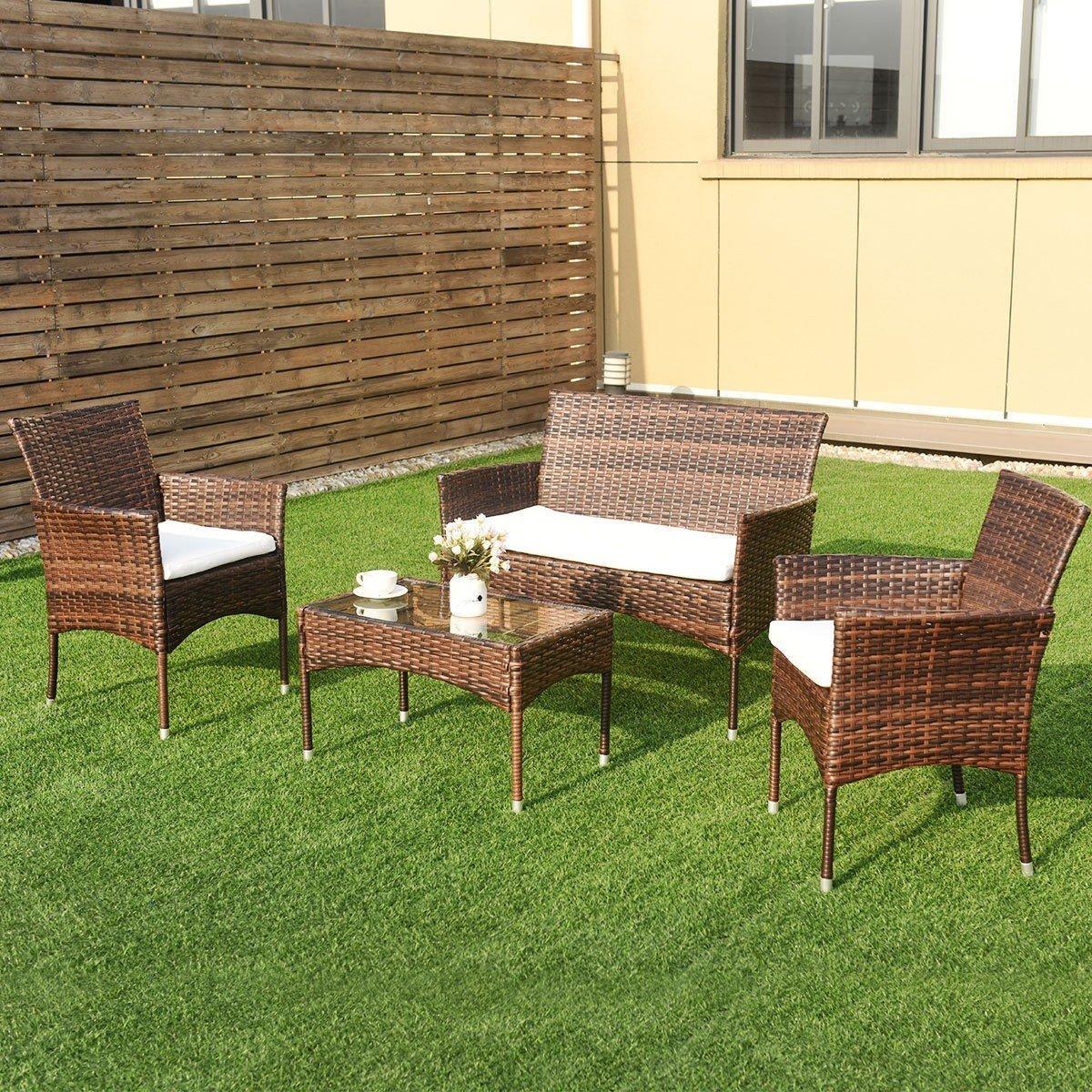 EnjoyShop 4 Pcs PE Rattan Wicker Table Shelf Sofa Furniture Set with Cushion Dining Garden Picnic Outdoor by EnjoyShop (Image #6)