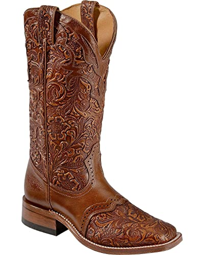 Women's Hand Tooled Belmont Cowgirl Boot Square Toe - 2015
