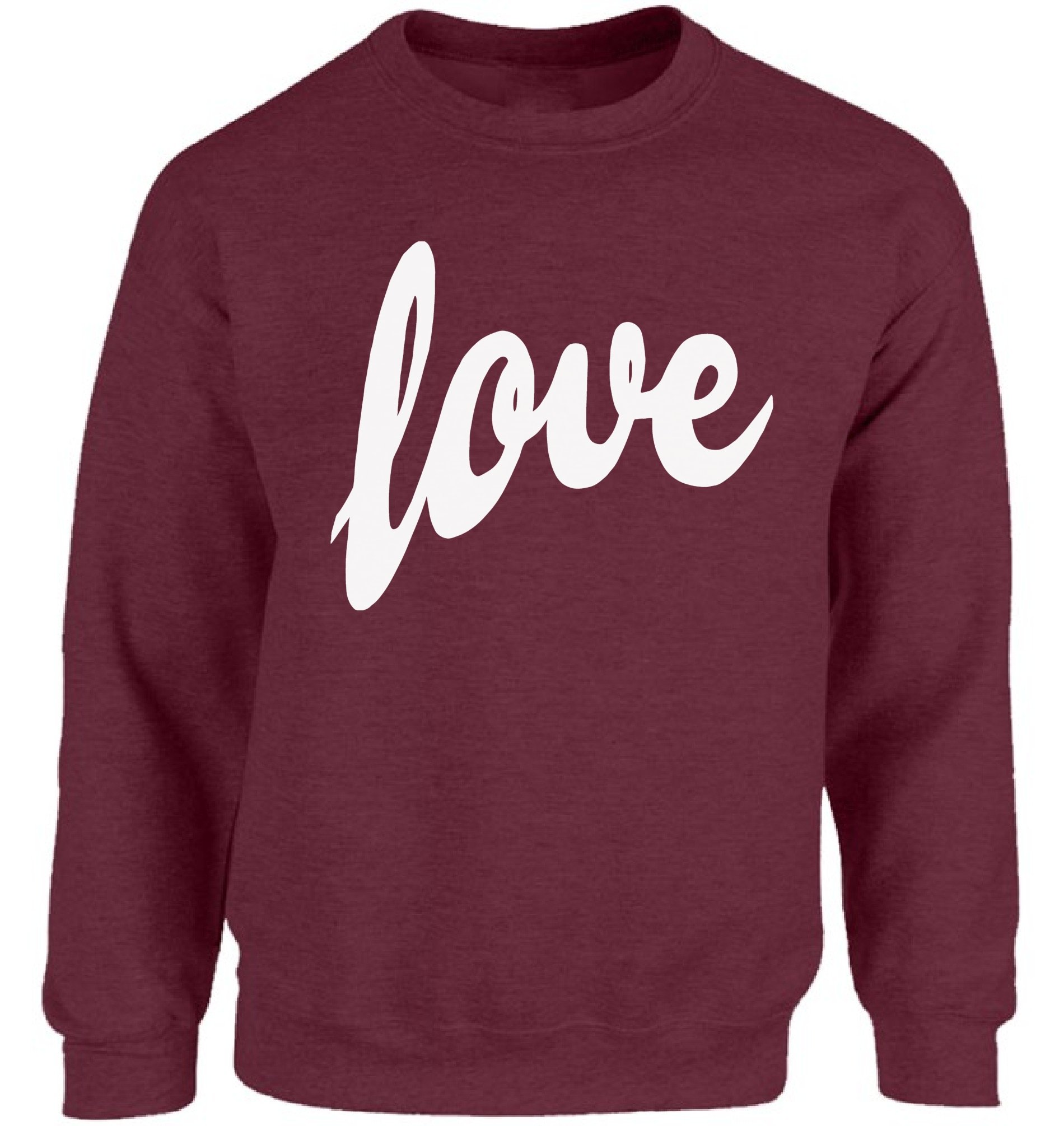 Vizor Love Print Sweatshirt Valentine's Day Love Sweater For him and Her Valentine's Day Gifts For Men and Women Maroon S