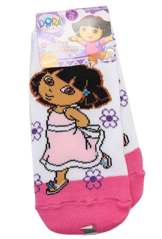 Dora the Explorer Sundress and Flowers Pink//White Socks Size 6-8, 1 Pair