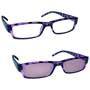 a22d258050 The Reading Glasses Company Purple Lightweight Readers With UV400 Sun Reader  Value Twin Pack Mens Womens RS32-5 +1.50  Amazon.co.uk  Health   Personal  Care