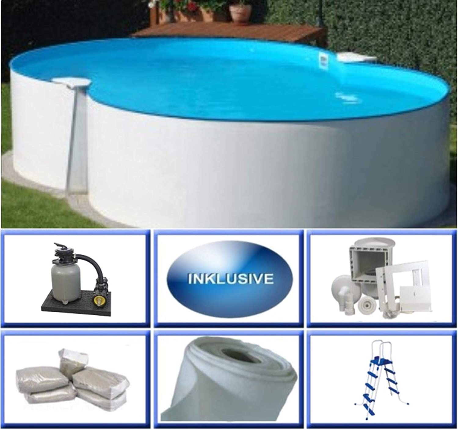 Summer Fun Set de piscina de acero Montevideo Basic octavo 3 m x 4 ...