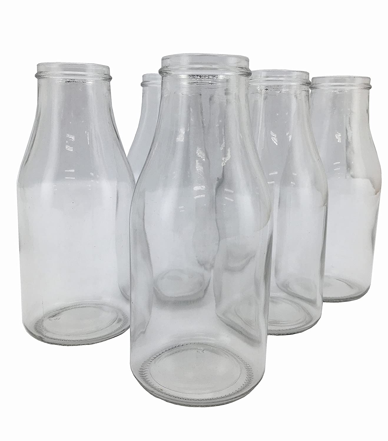Circleware Valley Farm Glass Milk Bottles/Drinking Glasses, 16 Ounce, Set of 6 69010