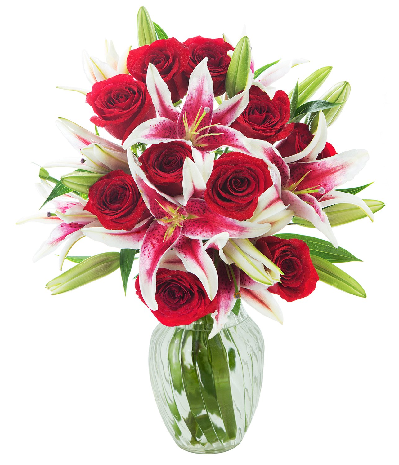 KaBloom Red Shades of Love Mixed Bouquet of 12 Red Roses and 5 Stargazer Lilies with Vase