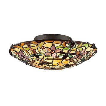 Amazon Quoizel TF1396SVB Tiffany Round Glass Flush Mount