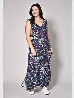 f0d5617b4f6d3b Janet & Joyce Damen Jersey-Maxikleid mit Blumen-Print Schwarz ...