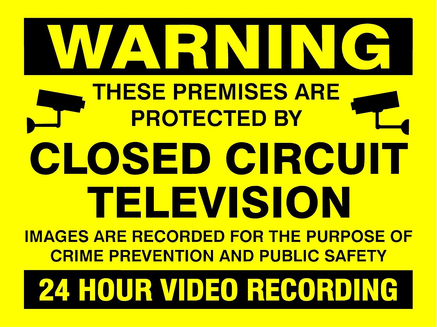 200MMx150MM WARNING 24HR VIDEO RECORDING SIGN RIGID PLASTIC PRINTED