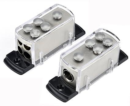 amazon com two 4 8 gauge power distribution block car audio wiring Car Audio Capacitor Wiring two 4 8 gauge power distribution block car audio wiring 1 to 4 amp platinum