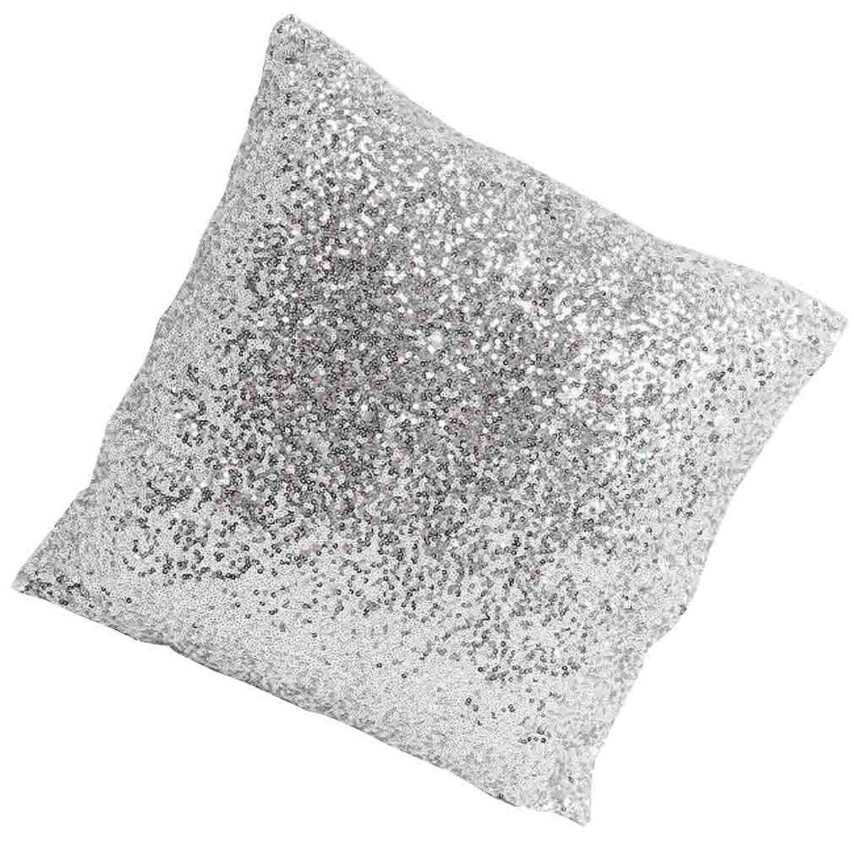 Silver Sequin Throw Pillow Cov...