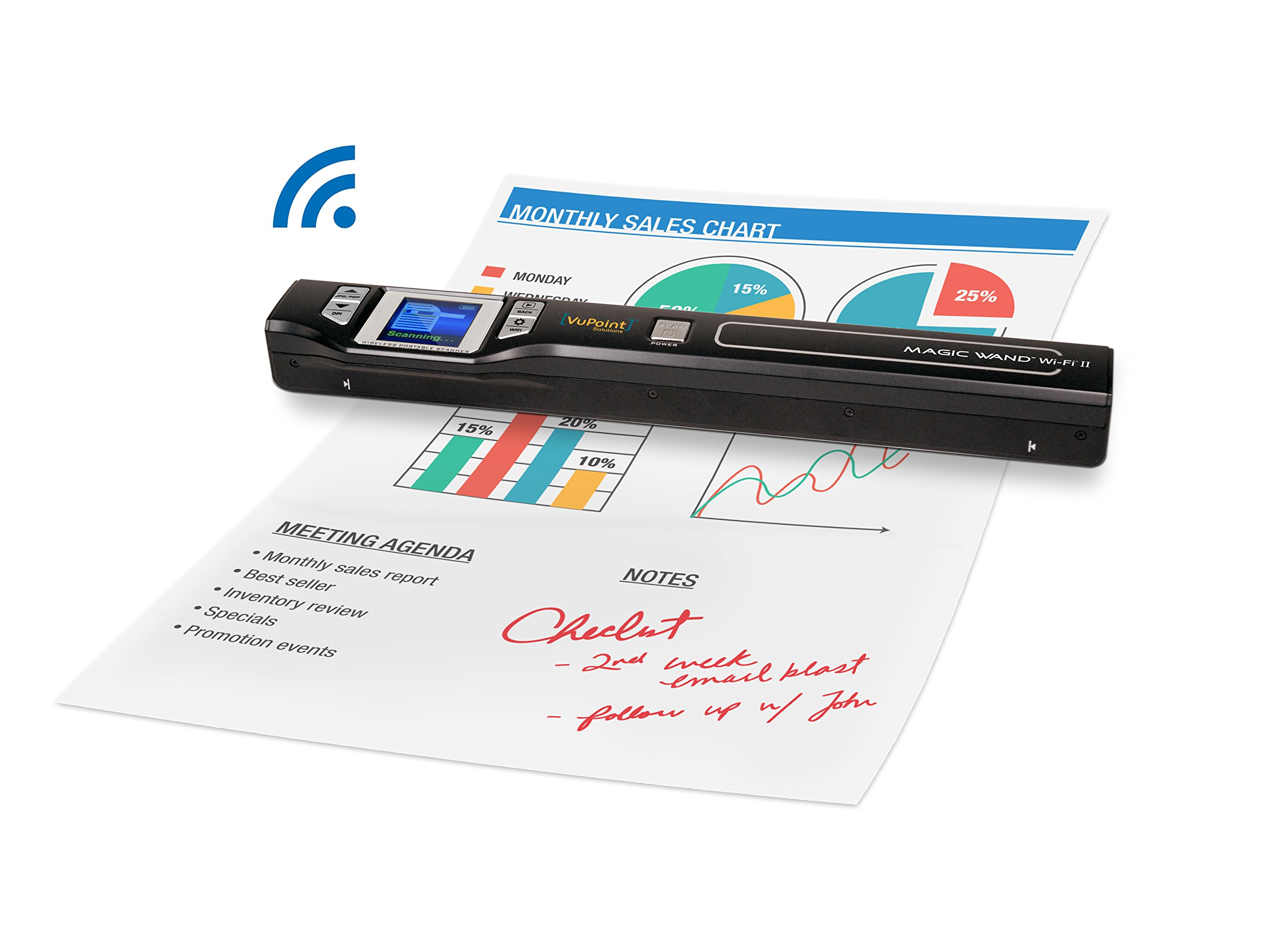 Document/Image Scanner 8x Zoom VuPoint ST47 Magic Wand [Portable, LCD screen, Wireless, Wi-Fi, OCR, Mac/PC/Apple/Android] Color Handheld Compact Scanner - Fast, Mobile, Smart, Slim Purse-fit Design by VuPoint Solutions