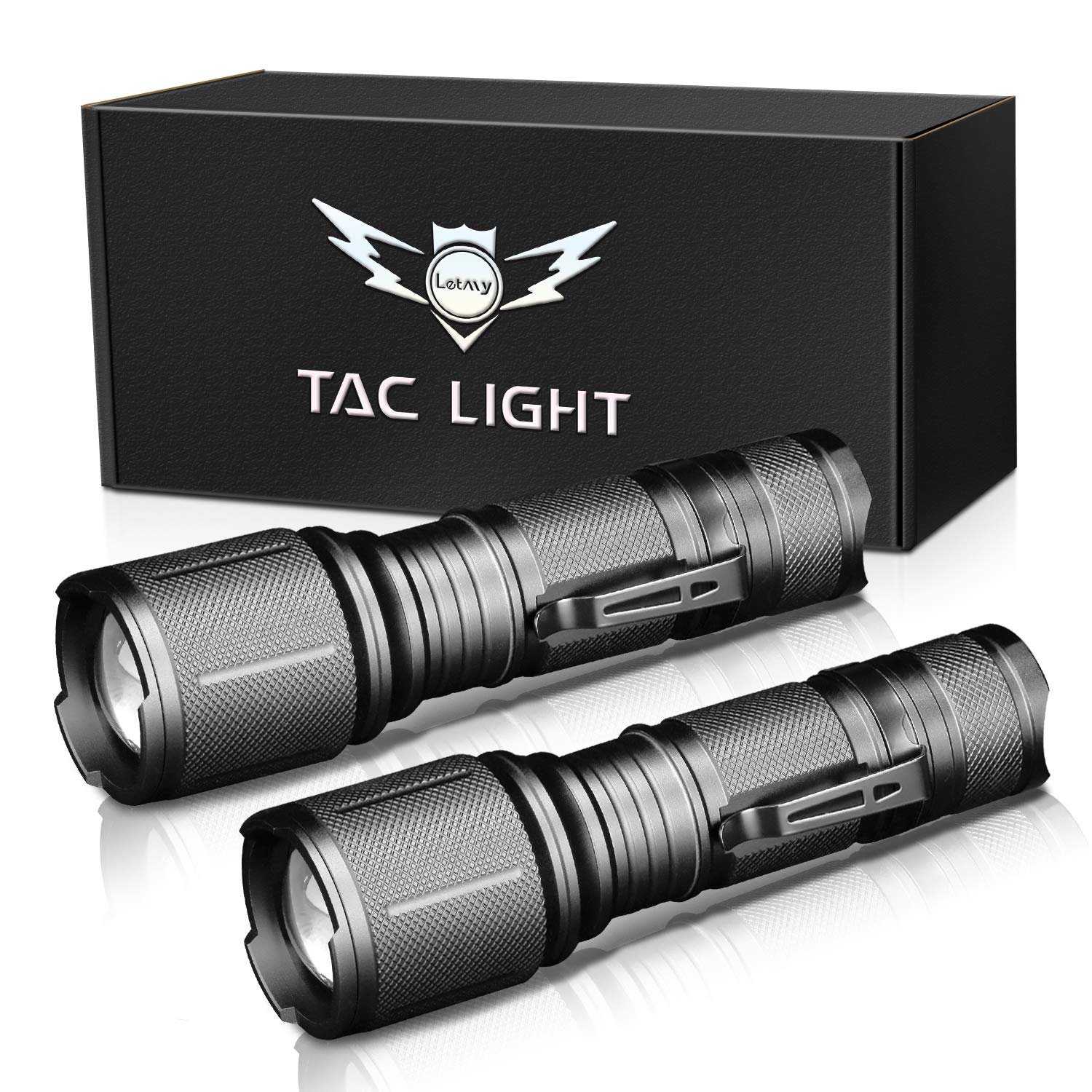 LETMY LED Tactical Flashlight, Ultra Bright 2000 Lumen XML T6 LED Flashlights With 5 Modes, Zoomable and Water Resistant for Camping Biking Hiking Home Emergency, 2 Pack by LETMY
