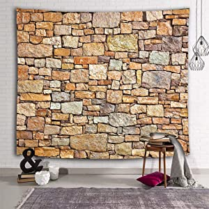 Sevendec Brick Tapestry Wall Hanging Yellow Stone Wall Tapestry Polyester Print for Livingroom Bedroom Dorm Home Decor W90 x L71