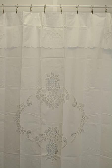 Battenburg Lace Fabric Shower Curtain White Amazoncouk Kitchen Home
