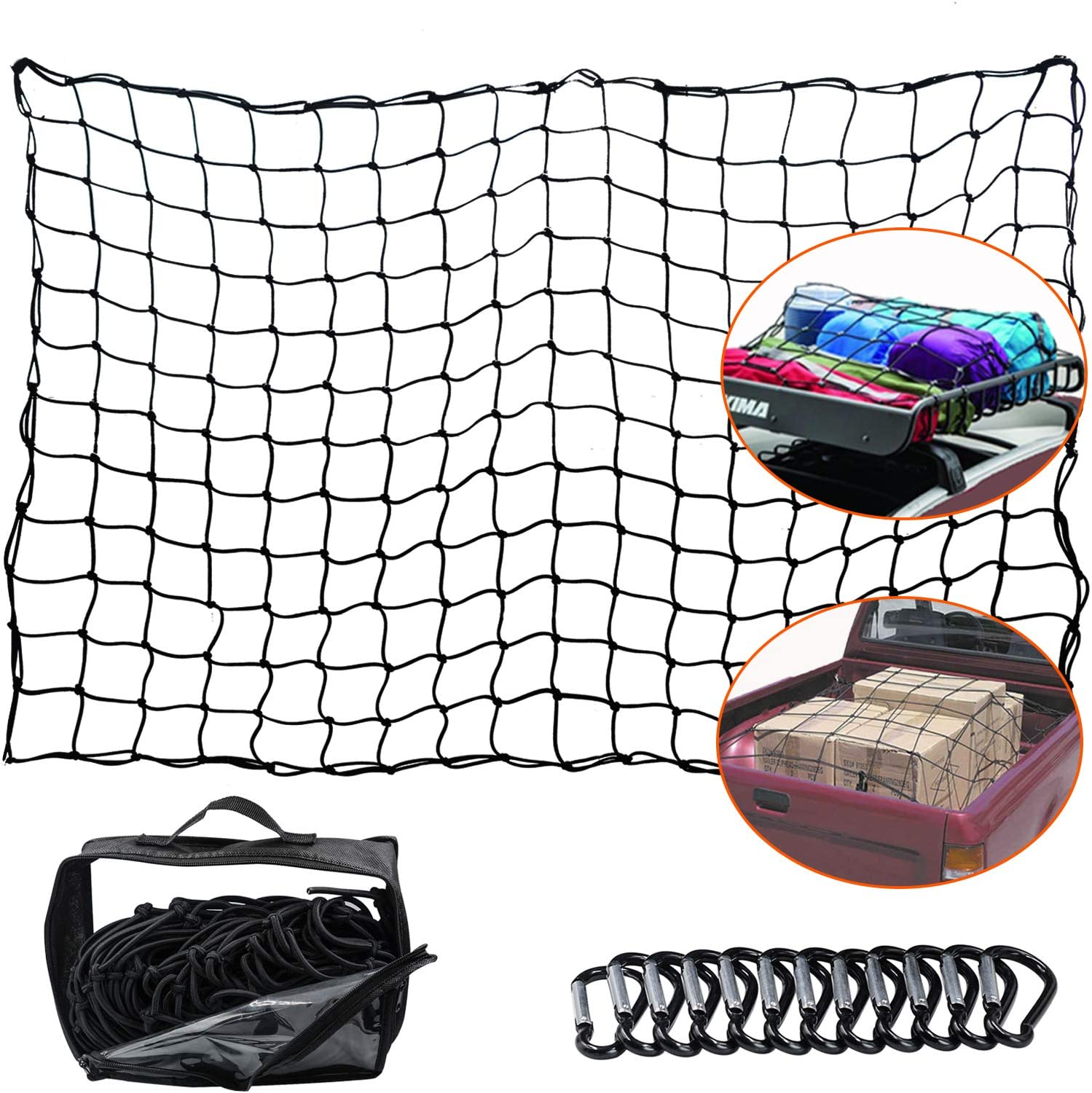 Heavy Duty 4x 6 Elastic Cargo Bungee Net Stretches to 8 x 12 for Roof Rack//Car//Trailer 4x4 Mesh Holds Small and Large Loads Tighter WUPP Cargo Net for Pickup Truck Bed 12 D-Clip Carabiners