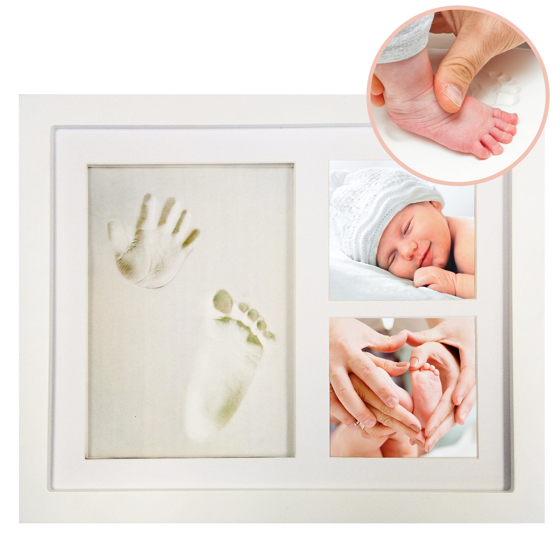 Clay Hand and Footprint Frame Kit for Babies, Kids and Pet Paw Prints - Includes 9.5'' x 11.5'' Photo Frame, Clay, Roller, Mounting Hardware and Simple Instructions - by ''Pose''ies by ''Pose''ies