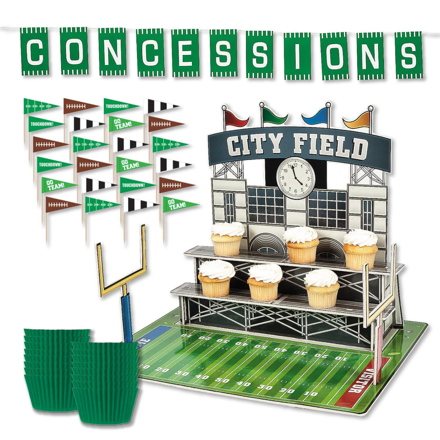 Football Stadium Cupcake Stand Display Kit with Picks, Liners, and Banner