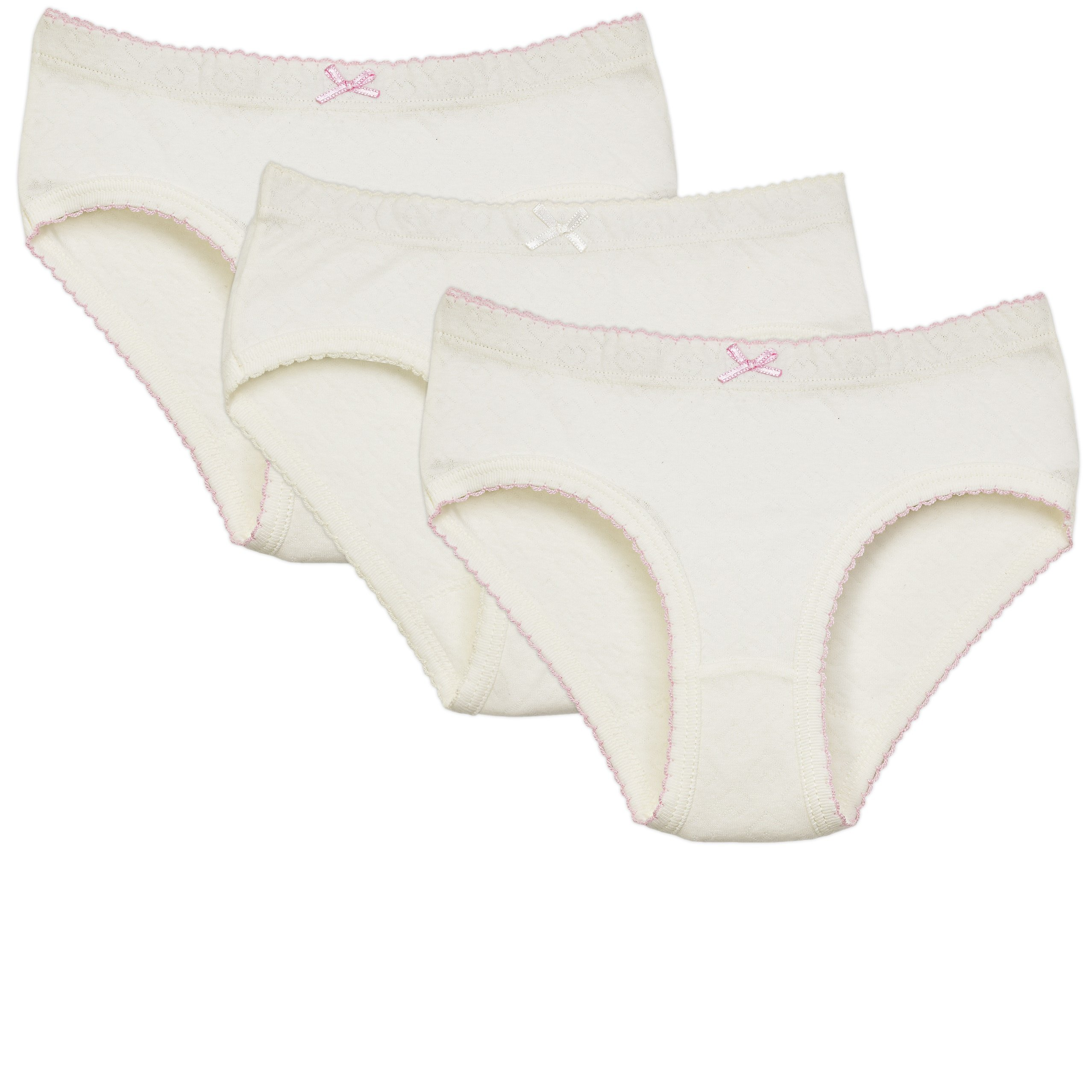 Amoureux Bebe Briefs Panties For Toddlers & Girls- Extra Soft Turkish Cotton Underwear- White Background With Heart Imprints & Pink Trimming, Size 8-9 (3 Pack)