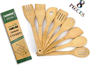 Wooden Spoons for Cooking, 8 Piese Set, Organic Bamboo Cooking Utensils, Nonstick Kitchen Utensil Set, Wooden Spoons & Spatula,Jilla-hla