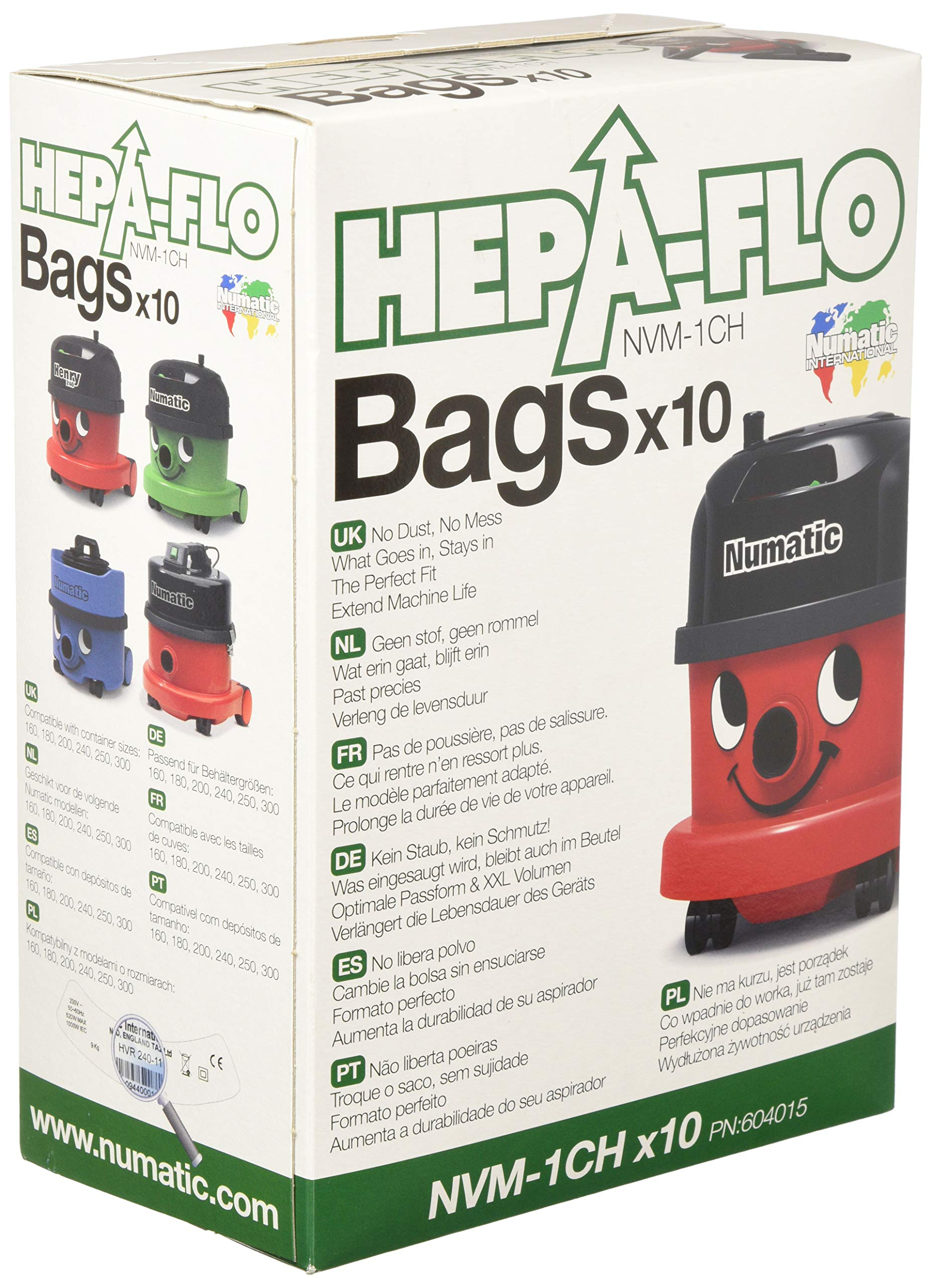 Numatic NVM-1CH HepaFlo' Disposable Filter Bags Pack - for the ''Henry'' HVR200A, the ''Hetty'' HET200A, the ''James'' JVP180, and the ''Henry Micro'' HVR200M Vacuum Cleaners - (10-Bags Per Pack) by Numatic