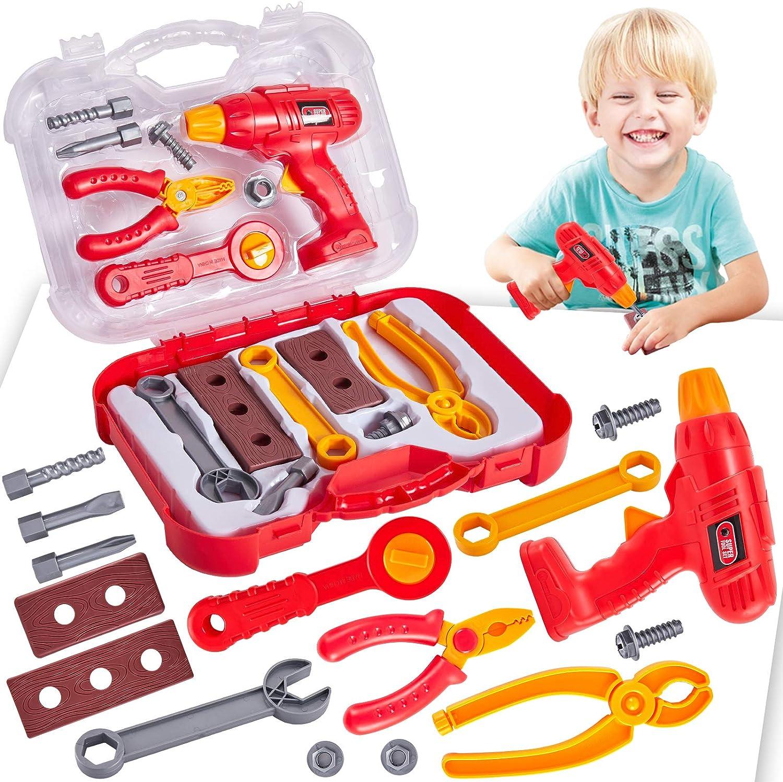 Buyger Caja Herramientas Juguete Maletin Construccion Herramientas Juegos de rol para Niños 3 4 5 Años (Rojo)