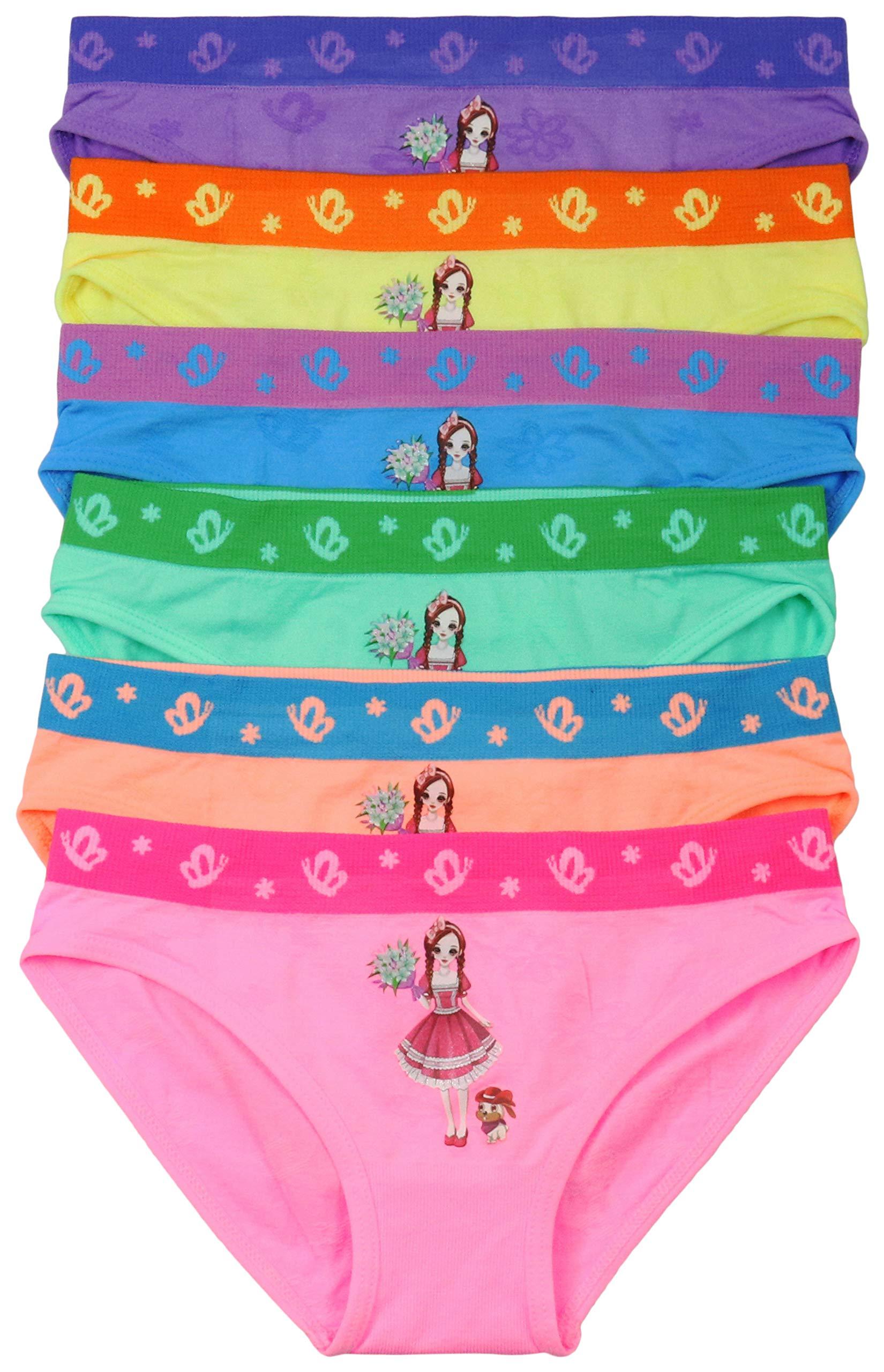 ToBeInStyle Girls' 6 Pack Bouquet Dog Walk Print Bikini Panties - Large