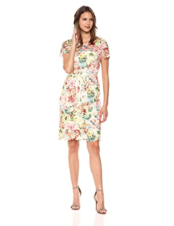 f6506683 Tahari by Arthur S. Levine Women's Printed Chemical Lace Dress, Beige/Coral/
