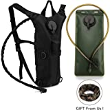 FiveJoy Hiking Hydration Pack Backpack with 2.5L BPA FREE Water Bladder Bag and Sports Bandana - Slim Size for Running Climbing Cycling Camping Skiing - Lightweight Outdoor Tactical Survival Reservoir