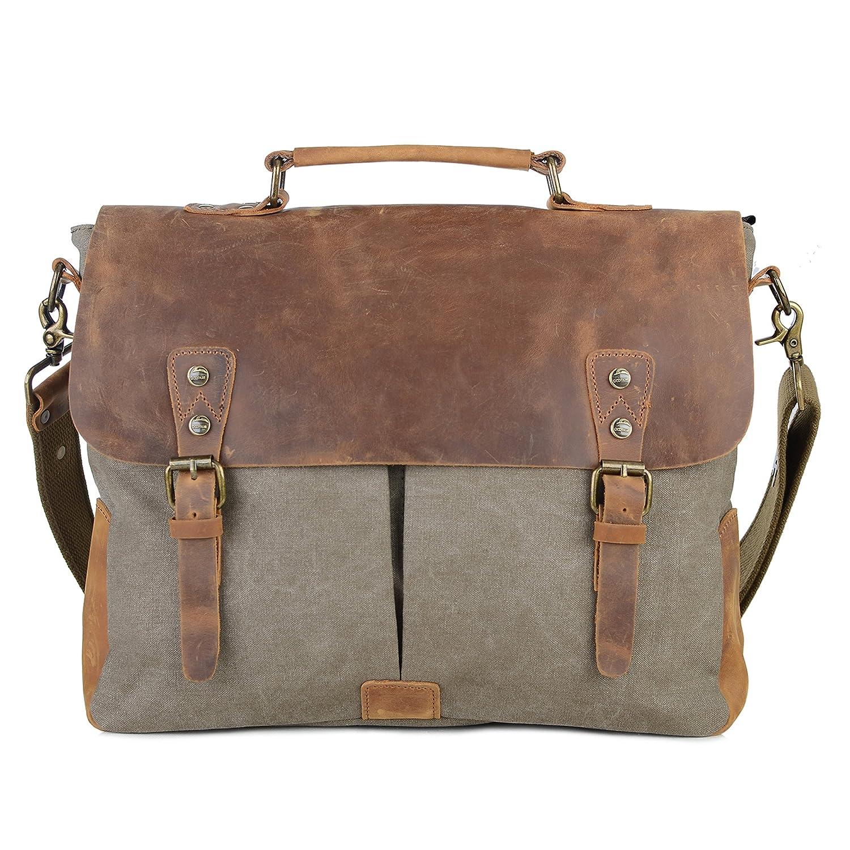 9bf11c2ddf29 Gootium Vintage Canvas Leather Messenger/Laptop Shoulder Bag Men's, 15.6  Inches, Army Green