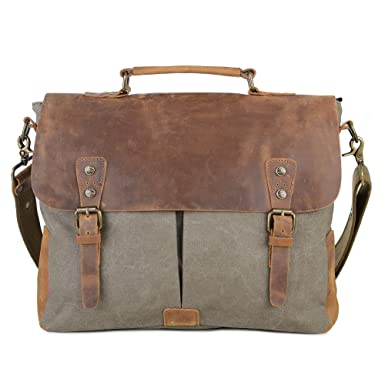 Gootium Canvas Leather Messenger Bag - Vintage Briefcase 15.6 quot  Laptop Shoulder  Bag f1f333fc1ed47