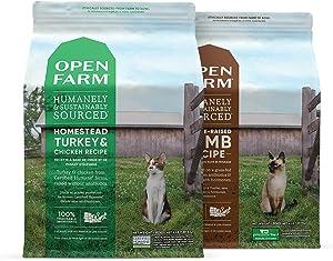 Open Farm Grain-Free Homestead Turkey & Chicken and Pasture-Raised Lamb Dry Cat Food Bundle, 4 lbs