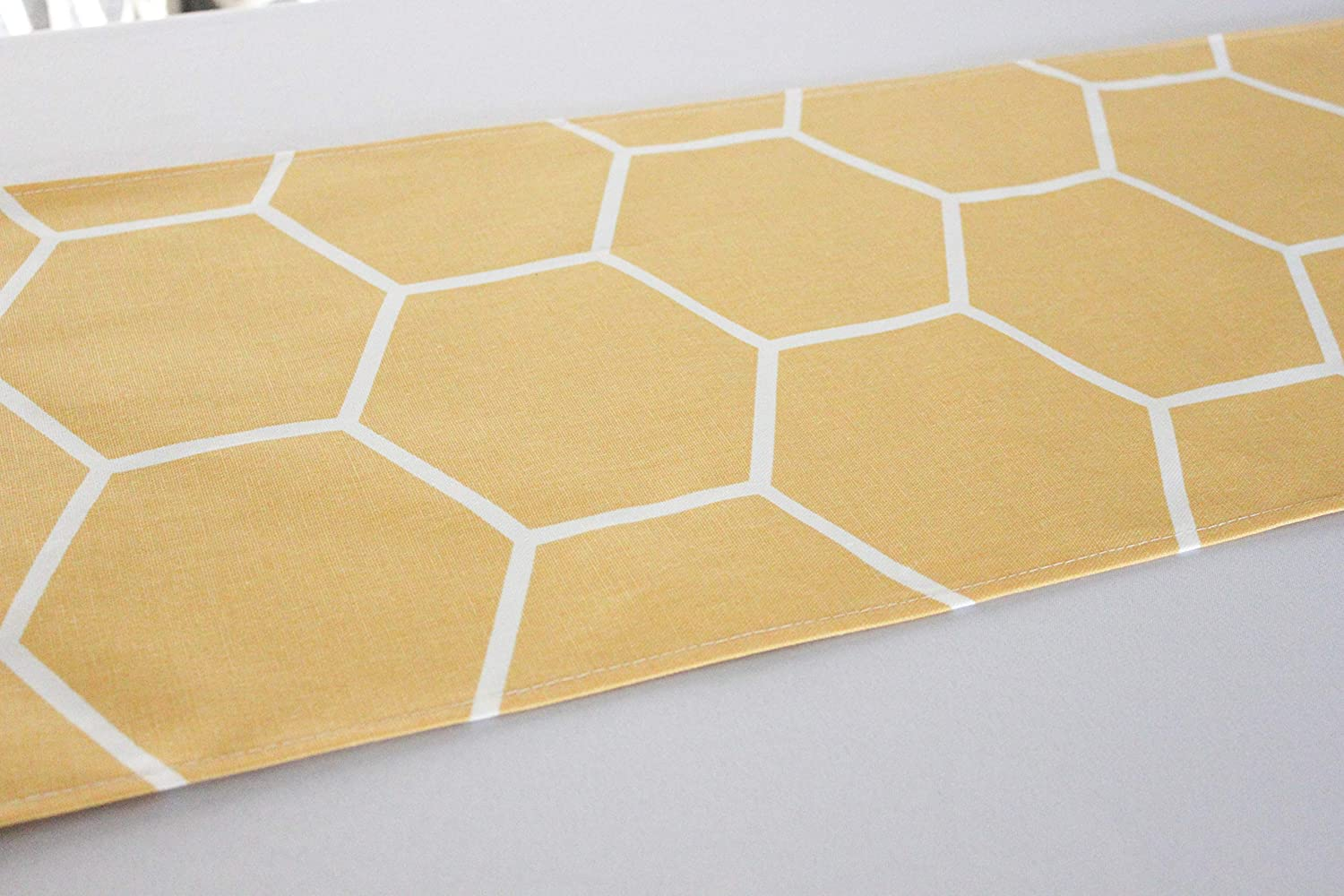 12x96 inches Yellow Honeycomb Bee Themed Table Runner 814cCUUGQNL