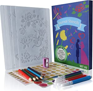 Bullet Journal Stencil Set - 10 Strong Stencils - 5 Colored Pens - 5 Colored Pencils - 1 Sharpener - 3 Types of Stickers (Alphabet, Emojis, Circles) - 5 x 7 Inch - Bullet Journal Supplies