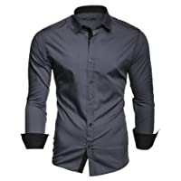 Kayhan Originale Uomo Camicia Slim Fit Facile Stiro Cotone Maniche Lungo S M L XL XXL 2XL -Modello K-2FACE