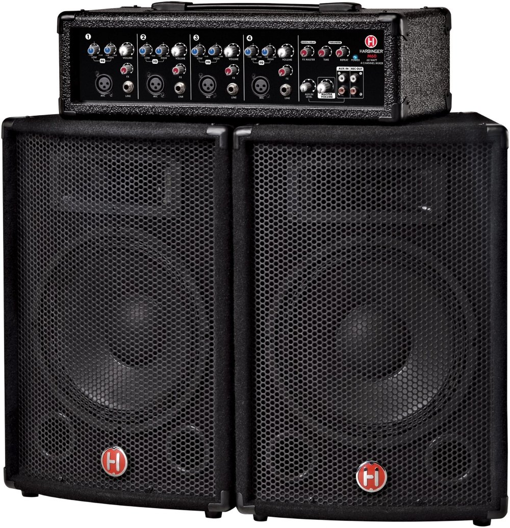 M6 0 60 >> Harbinger M60 60 Watt 4 Channel Compact Portable Pa With 10 In Speakers