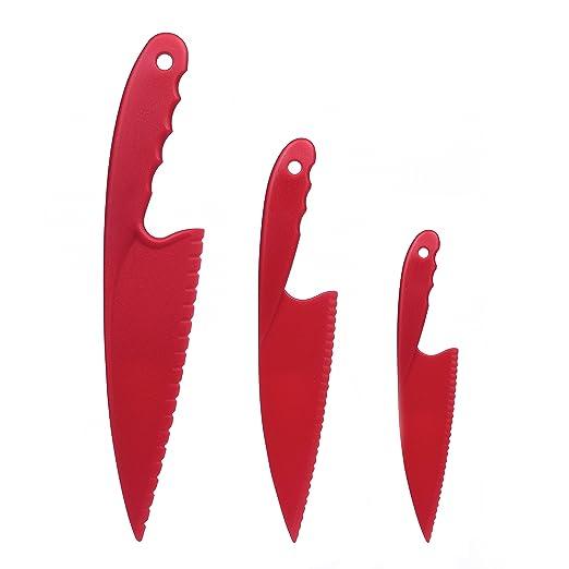GarMills Juego de 3 Cuchillos de Cocina de Plástico Rojo para Niños, Cuchillos de Cocina de Nylon Seguros para Niños, para Ensaladas de Lechuga o ...