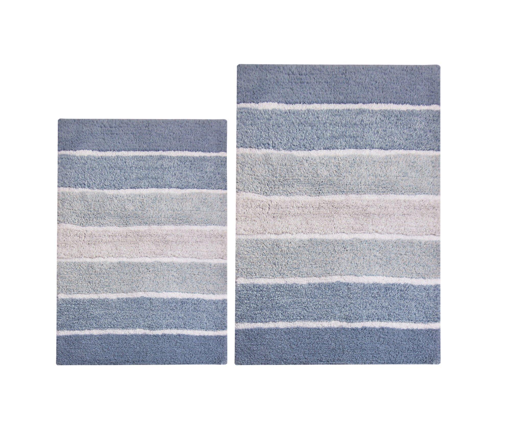 Chardin home 100% Pure Cotton - 2 Piece Cordural Stripe Bath Rug Set, (21''x34'' & 17''x24'') Blues with Latex spray non-skid backing