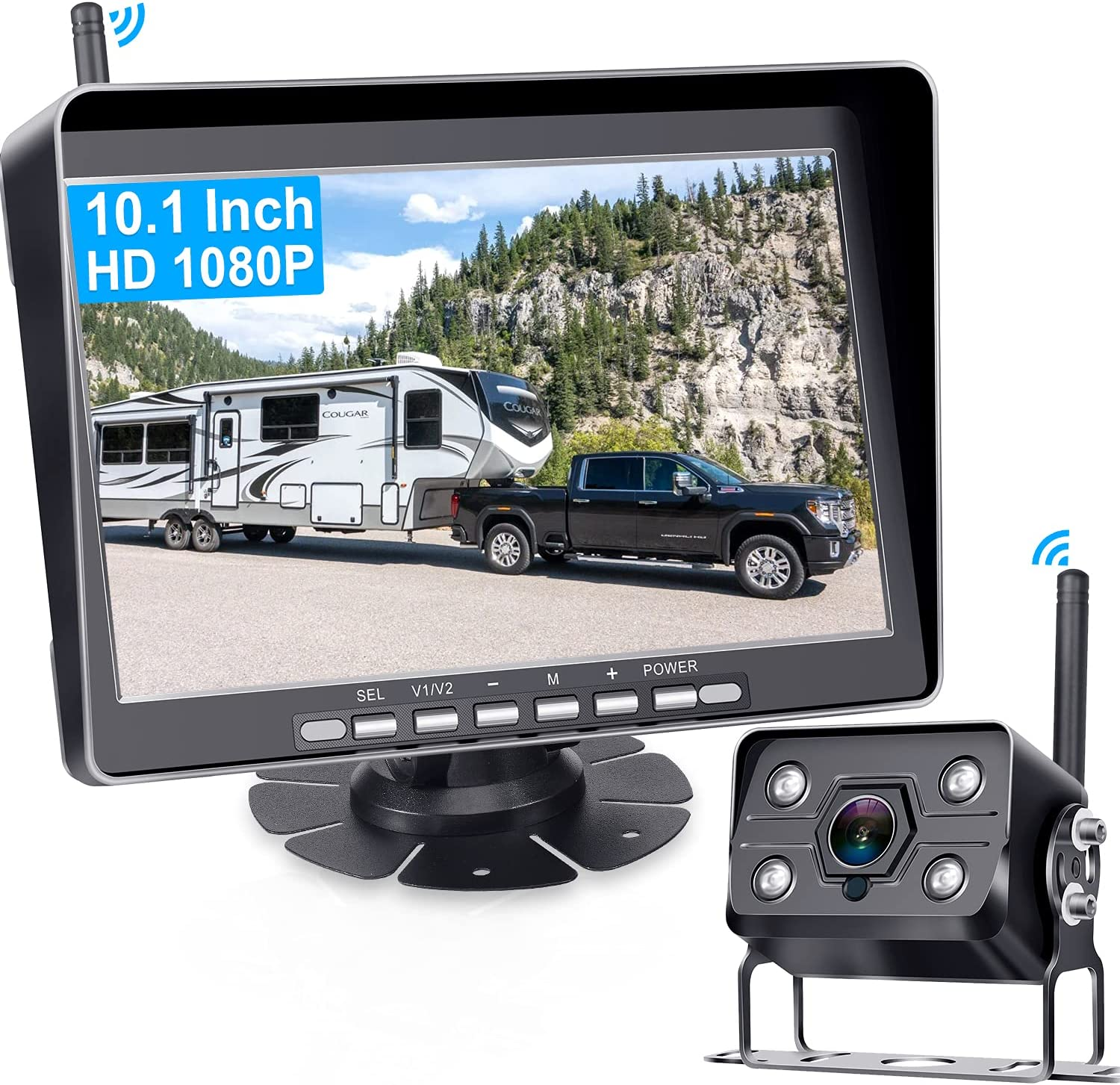 AMTIFO A11 HD 1080P RV Wireless Backup Camera,10 Inch Monitor Rear View Camera System with DVR Recording,Support add up to 4 Cameras,IP69K Waterproof,IR Night Vision