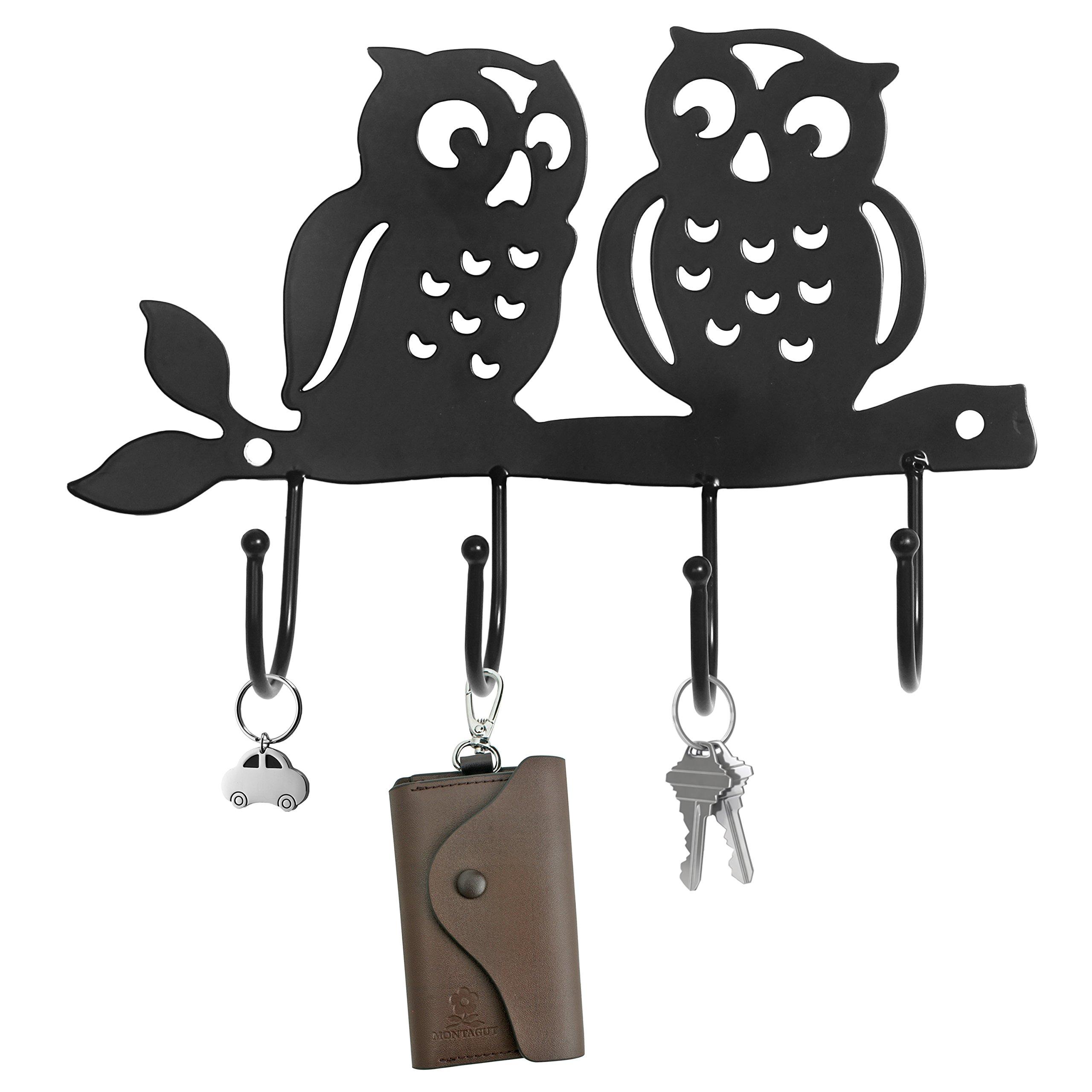 decorative owl design black metal 4 key hook rack wall mounted hanging storage organizer lavorist. Black Bedroom Furniture Sets. Home Design Ideas