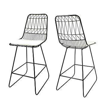 Strange Christopher Knight Home Lilith Counter Stools 26 Seats Modern Geometric Black Iron Frames With Ivory Cushion Set Of 2 Creativecarmelina Interior Chair Design Creativecarmelinacom