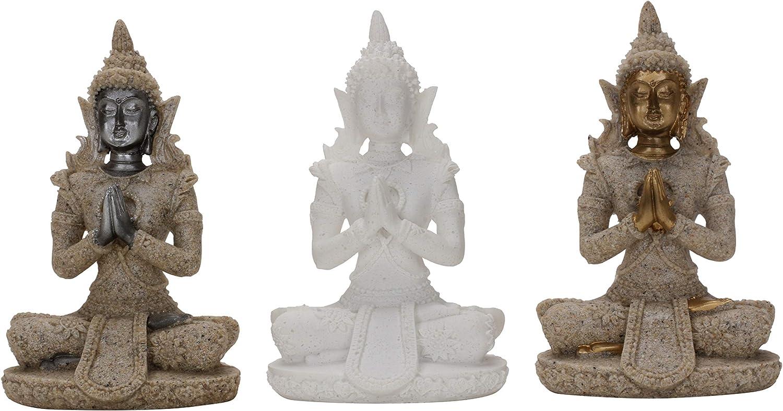 FPKOMD (3PCS) Zen Meditation Decor Statue Zen Praying Figurine Buddha Statue Sculpture Decoration Natural Sand and Rocks Decor for Bedroom Office Hotel Tabletop Desk Living Room Statues for Home Decor