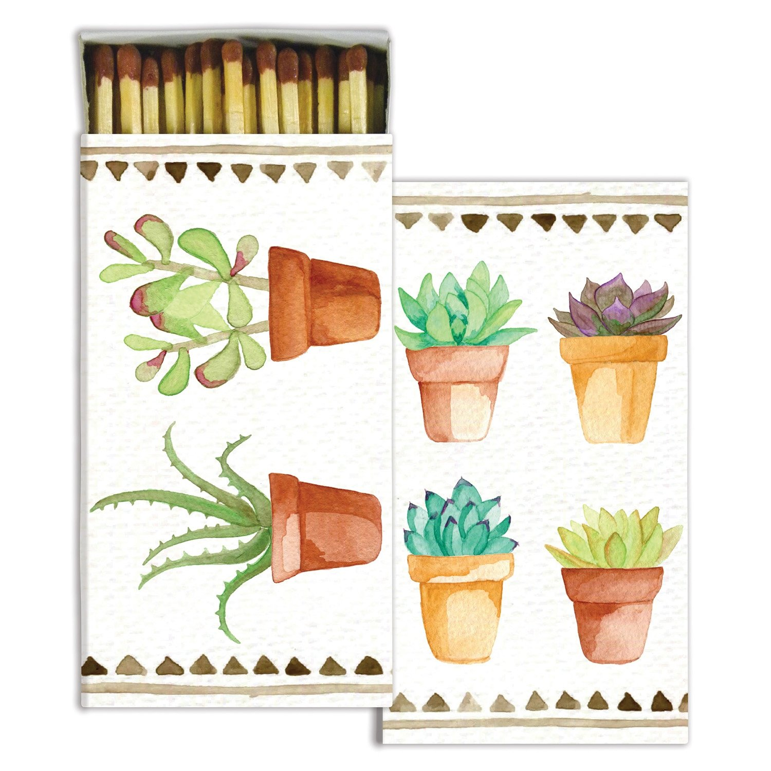 Watercolor Succulents Match Boxes with Wooden Matches (Set of 6)
