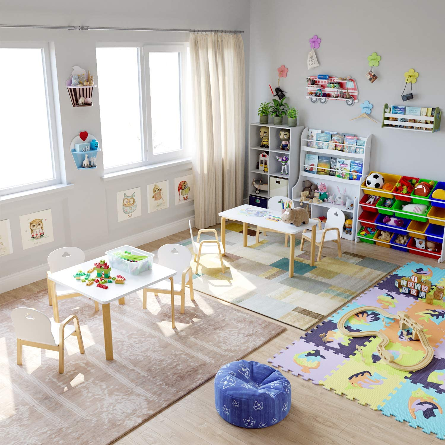Homfa Table and Chairs Set for Toddler Kids Activity Table Height Adjustable Chairs Nursery School Home Playroom