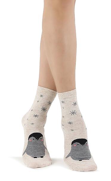 Mixmi Boutique De las mujeres Algodón Calcetines de pingüino con copos de nieve (Gradiente de