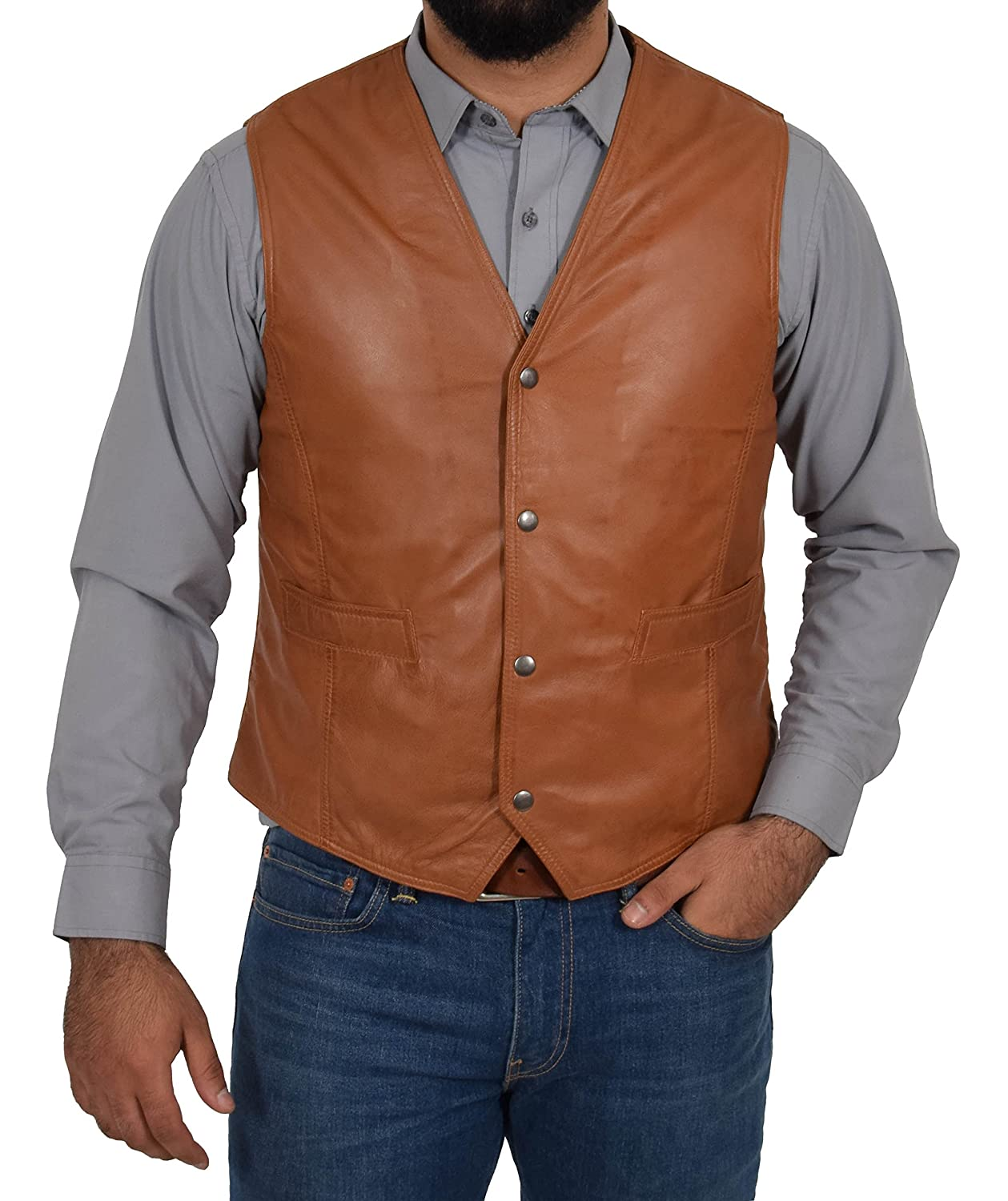 A1 FASHION GOODS Mens Soft Tan Leather Waistcoat Classic Traditional Style Gilet Casual Vest - Bruno Bruno Tan