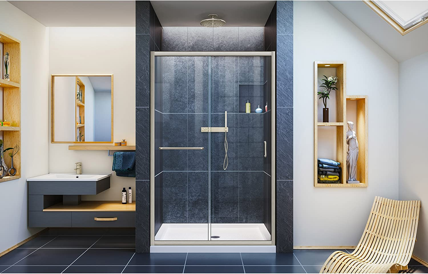 Dreamline Infinity Z Semi Frameless Sliding Shower Door For Openings From 44 Up To 48 Clear Glass In Brushed Nickel Shdr 0948720 04 Bathtub Sliding Doors Amazon Com