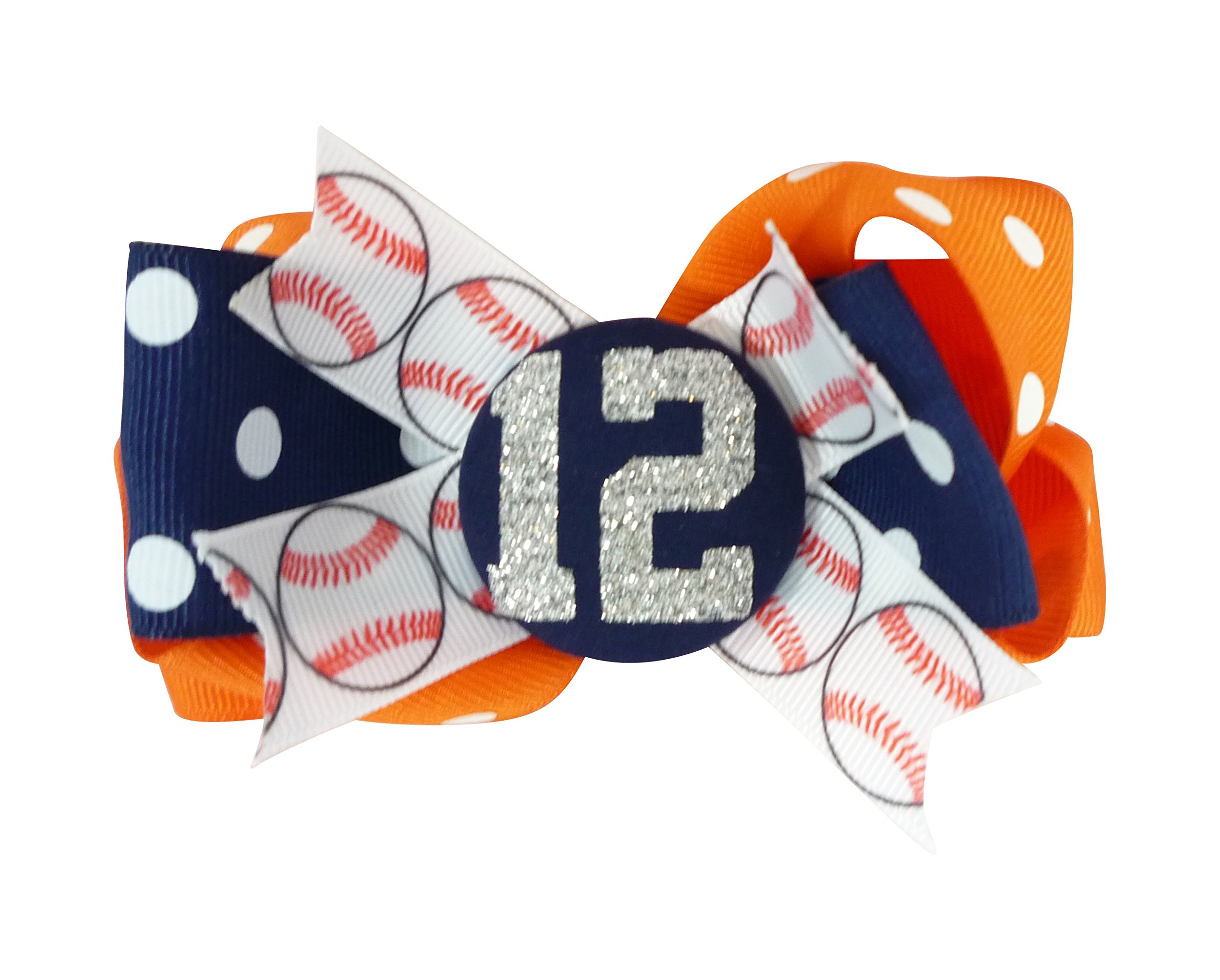 Customized Colors or Orange/Navy Baseball Hair Bow Flip with Gltter Number