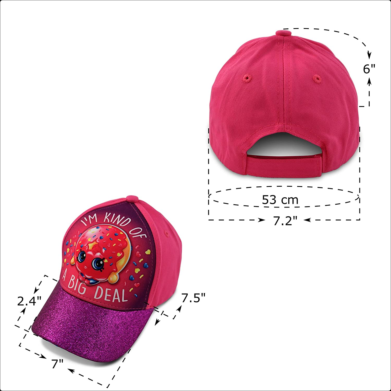 new styles 3650c e2600 ... usa age shopkins little girls dlish donut character 3d pop baseball cap  pink purple age cc511