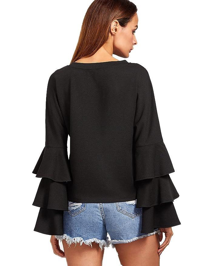 SHEIN Women s Round Neck Ruffle Long Sleeve Blouse at Amazon Women s  Clothing store  65790c628